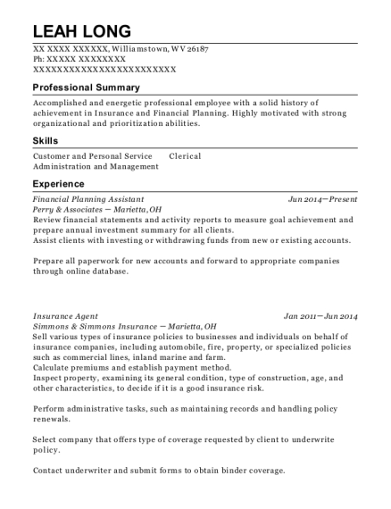 Financial Planning Assistant resume format West Virginia