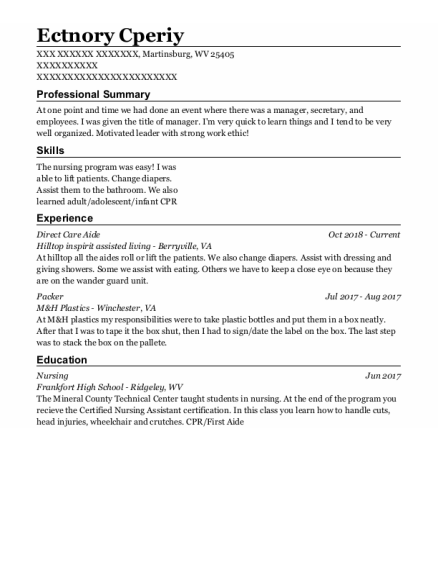Direct Care Aide resume template West Virginia