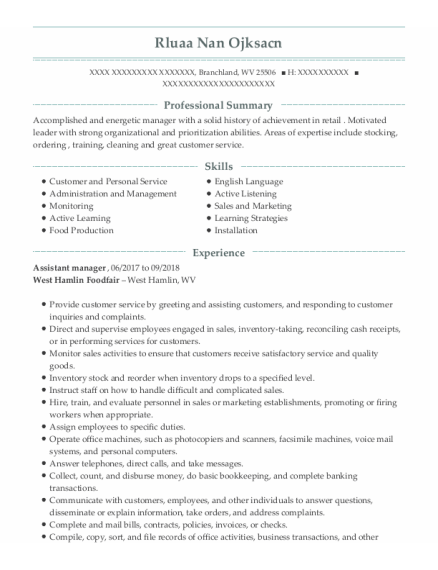 Assistant Manager resume sample West Virginia