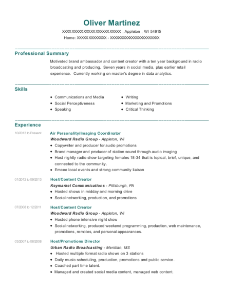 Air Personality resume sample Wisconsin