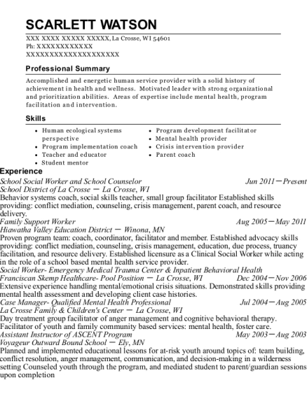 School Social Worker and School Counselor resume format Wisconsin