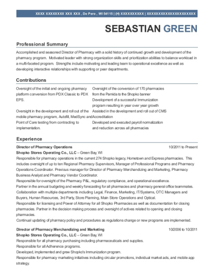 Director of Pharmacy Operations resume example Wisconsin