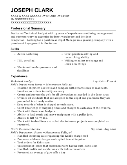 Technical Analyst resume example Wisconsin