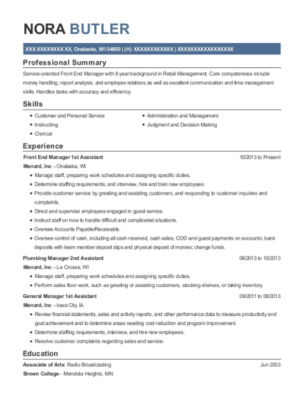 Front End Manager 1st Assistant resume example Wisconsin