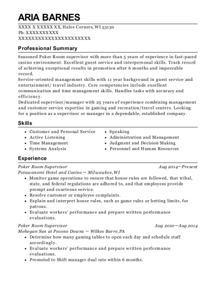 Poker Room Supervisor resume template Wisconsin