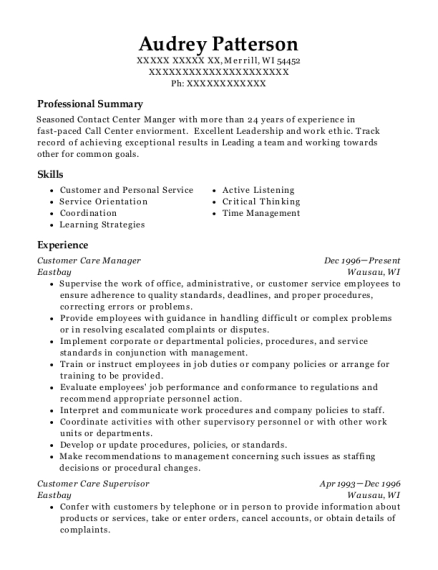Customer Care Manager resume format Wisconsin