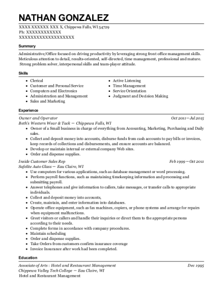 Owner and Operator resume template Wisconsin