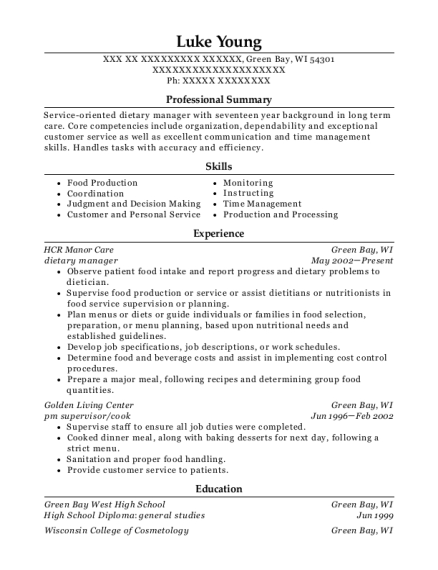 Dietary Manager resume format Wisconsin