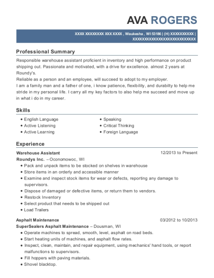 Warehouse Assistant resume format Wisconsin