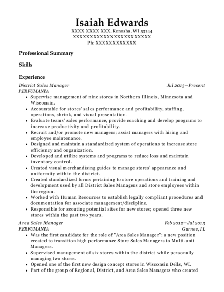 District Sales Manager resume sample Wisconsin