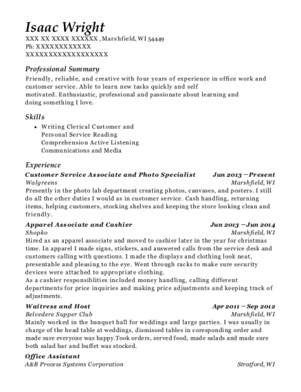 Customer Service Associate and Photo Specialist resume format Wisconsin