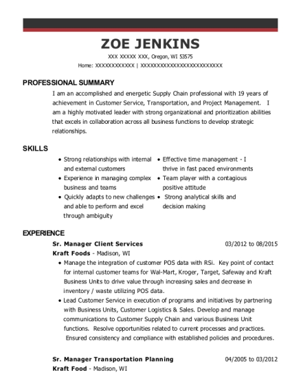 Sr Manager Client Services resume template Wisconsin