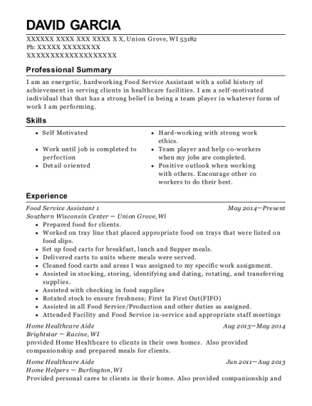 Food Service Assistant 1 resume sample Wisconsin