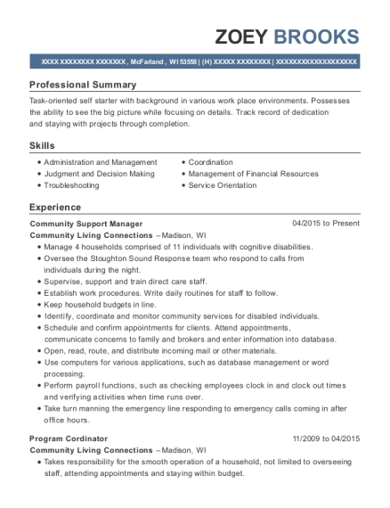 Community Support Manager resume example Wisconsin