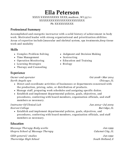 Owner and operator resume example Wisconsin