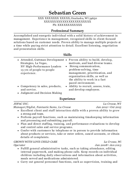 Manager resume example Wisconsin