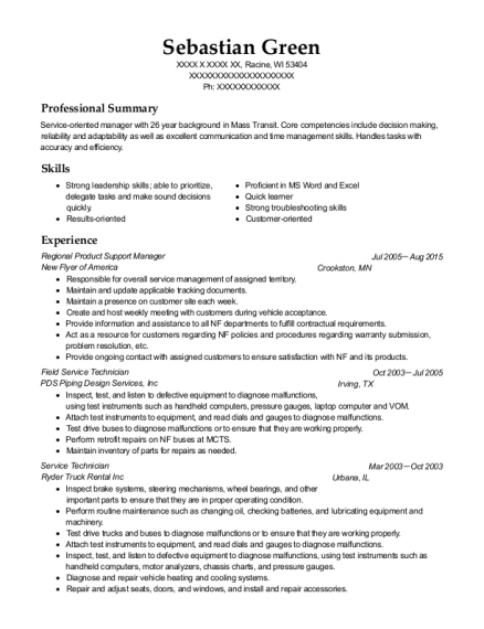Regional Product Support Manager resume format Wisconsin