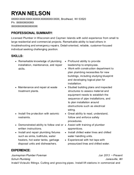 Journeyman Plumber Foreman resume template Wisconsin