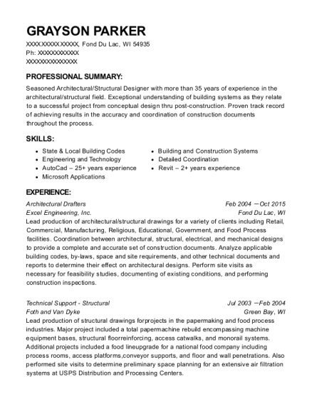 Architectural Drafters resume example Wisconsin