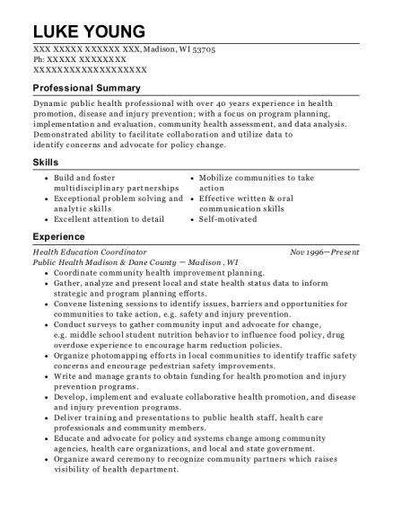 Health Education Coordinator resume format Wisconsin