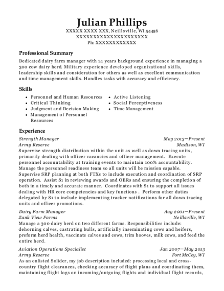 Strength Manager resume sample Wisconsin
