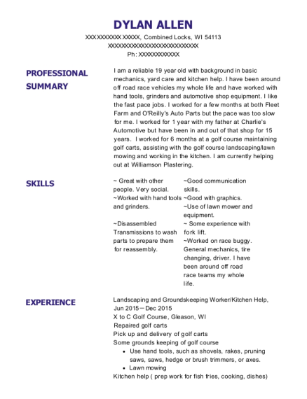 Landscaping and Groundskeeping Worker resume template Wisconsin