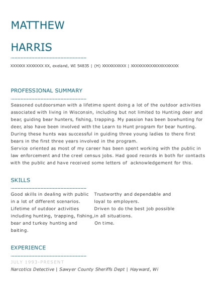 Narcotics Detective resume template Wisconsin