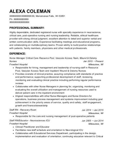Froedtert Hospital Nurse Manager Critical Care Resource Pool