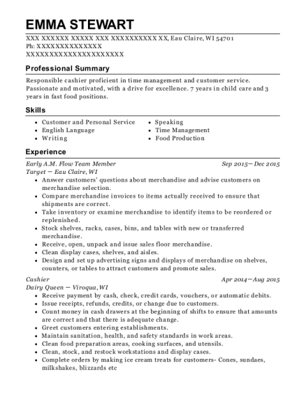 Early AM Flow Team Member resume template Wisconsin