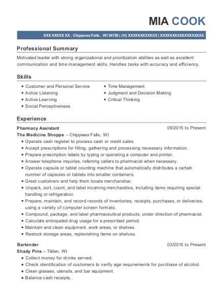 Pharmacy Assistant resume sample Wisconsin