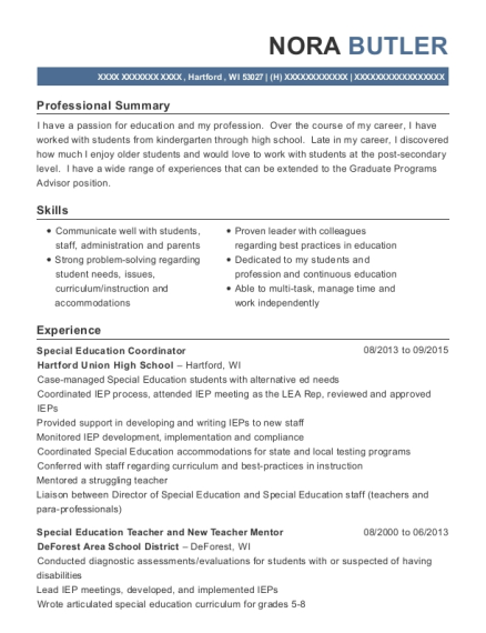 Special Education Coordinator resume template Wisconsin