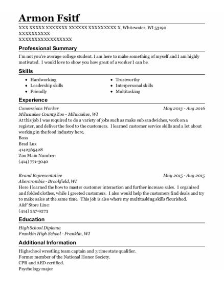 Concessions Worker resume example Wisconsin