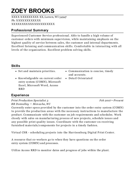 Print Production Specialist 3 resume template Wisconsin