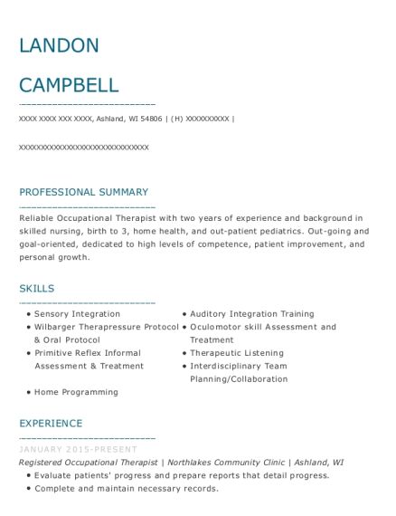 Registered Occupational Therapist resume example Wisconsin