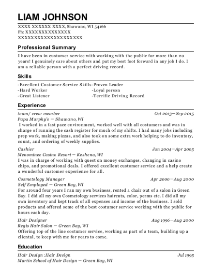 team resume sample Wisconsin