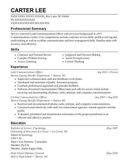 Lead Communications Officer resume sample Wisconsin