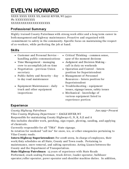 County Highway Patrolman resume template Wisconsin