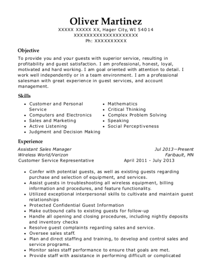 Assistant Sales Manager resume example Wisconsin