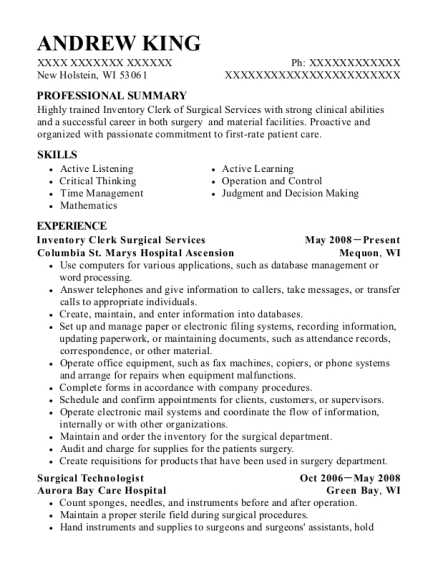 Inventory Clerk Surgical Services resume example Wisconsin