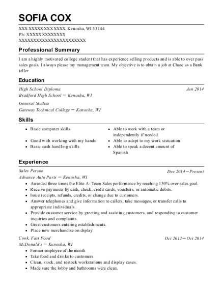 Sales Person resume example Wisconsin