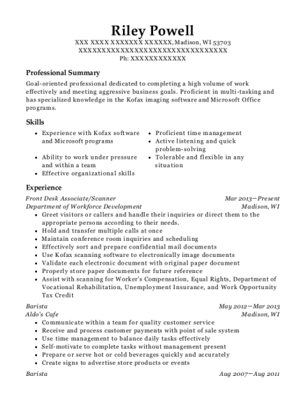 Front Desk Associate resume template Wisconsin