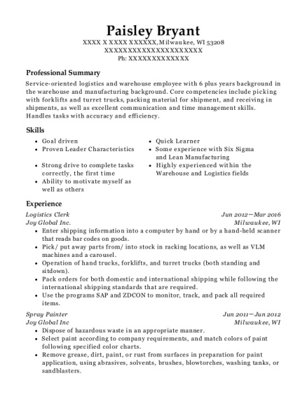 Joy Global Inc Logistics Clerk Resume Sample - Milwaukee