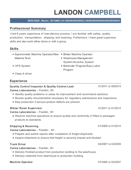 Quality Control Inspector & Quality Control Lead resume example Wisconsin