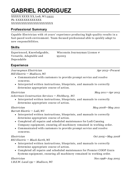 Journeyman Electrician resume example Wisconsin