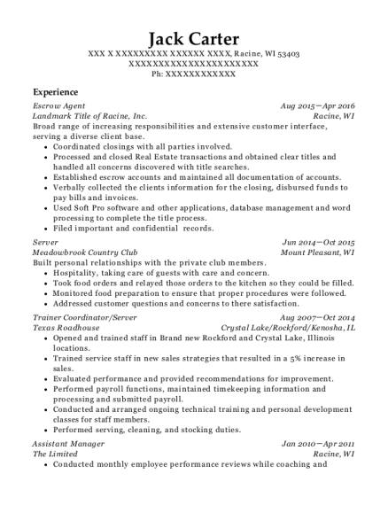 Escrow Agent resume template Wisconsin