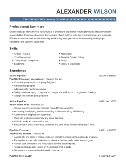 matrix resources pipefitter foreman resume sample