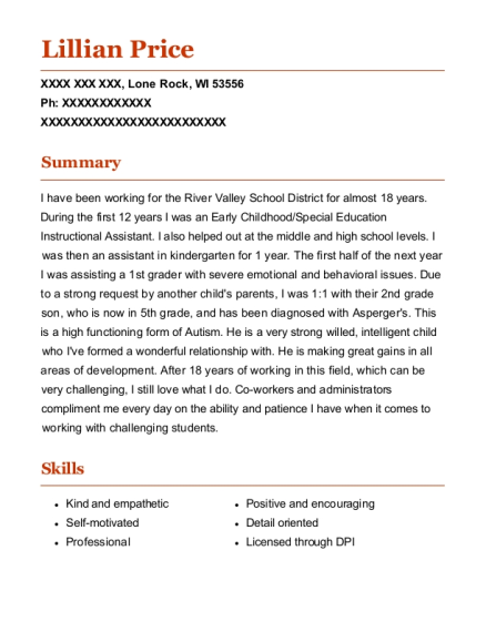 Special Education Instructional Assistant resume sample Wisconsin