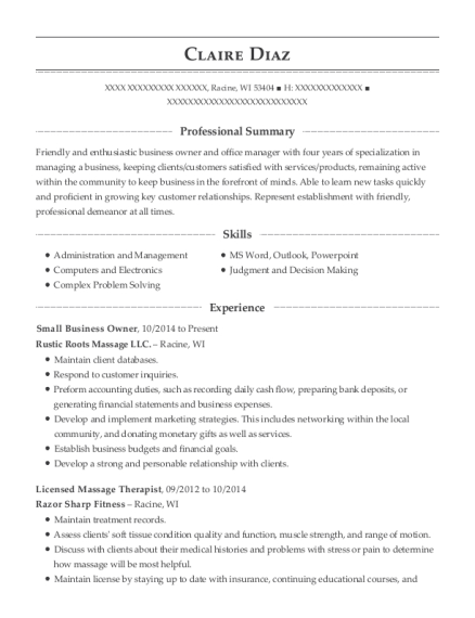 Small Business Owner resume format Wisconsin