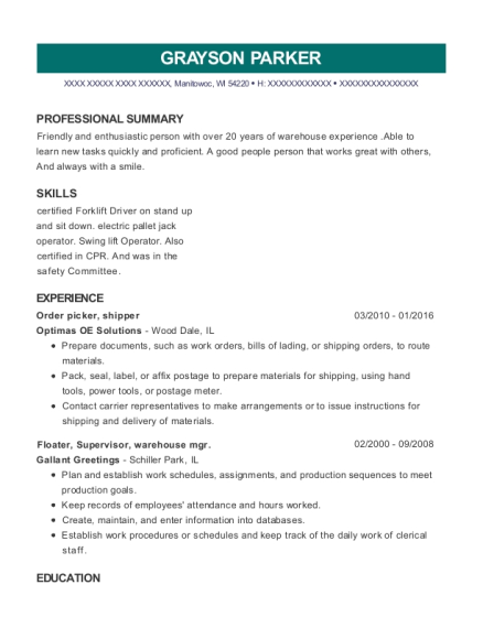Order picker resume example Wisconsin