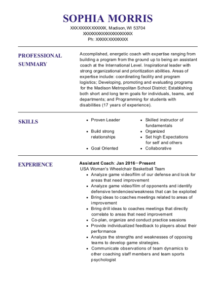 Assistant Coach resume format Wisconsin